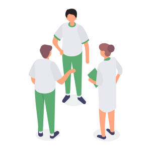 Illustration of three colleagues discussing virtual assistant