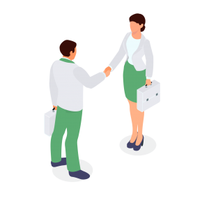 collaboration between sectors, two team members shaking hands