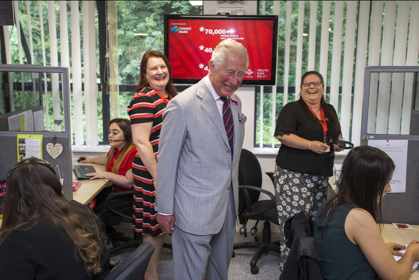Prince Charles in the Princes Trust contact centre