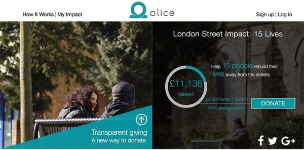 Alice platform webpage showing campaign collaboration with St Mungo's Homeless charity. London Street impact: 15 lives. Help 15 people rebuild their lives away from the streets.