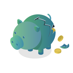 illustrative graphic showing a broken piggy bank with money falling out of a crack in its side