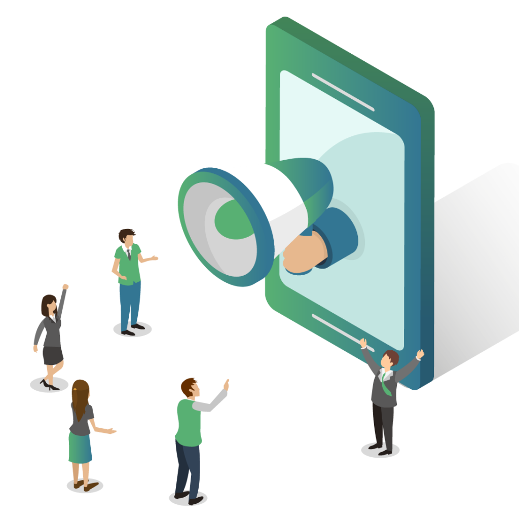 Graphic of a megaphone talking to an audience