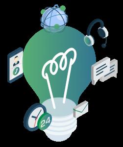 Lightbulb with digital icons around it