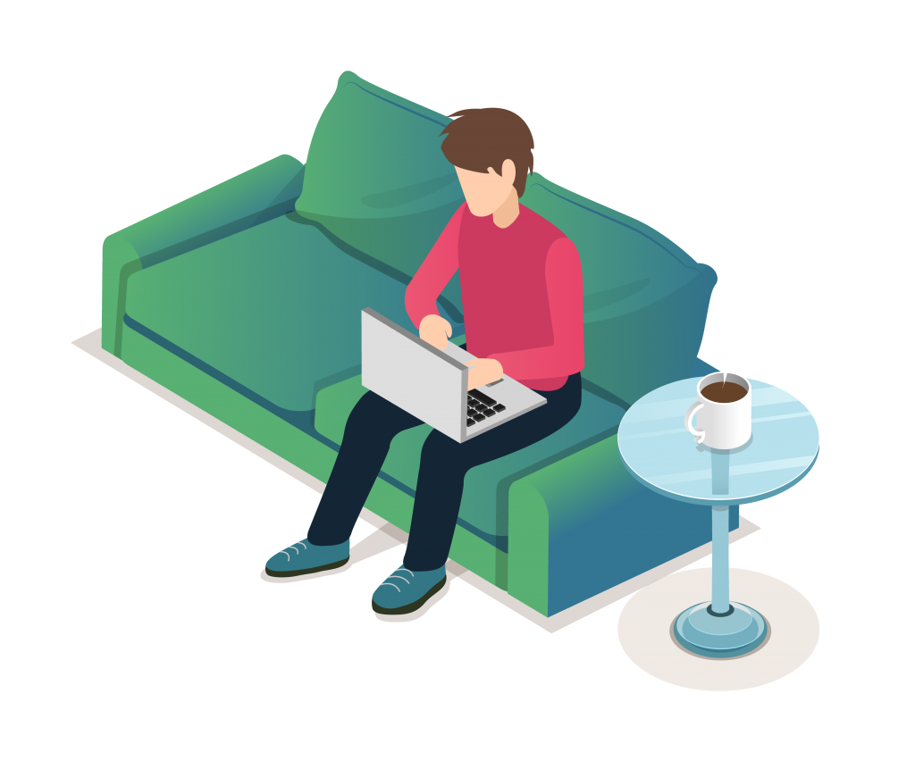 Graphic showing someone sitting on the sofa working from home